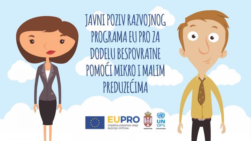 EU PRO predstavlja poziv za dodelu bespovratnih sredstava preduzetnicima, mikro i malim preduzećima